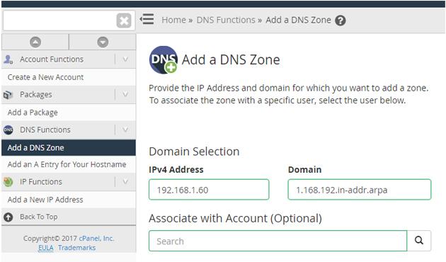 Add a DNS Zone in WHM
