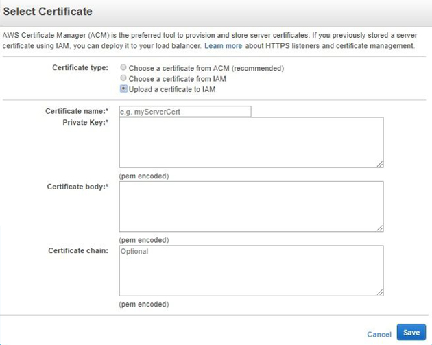 Select Certificate to Upload