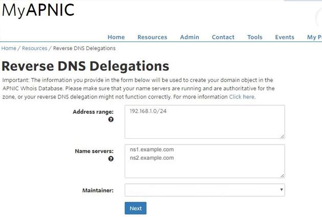 Reverse DNS delegation