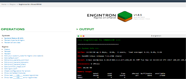 Engintron running on cPanel/WHM